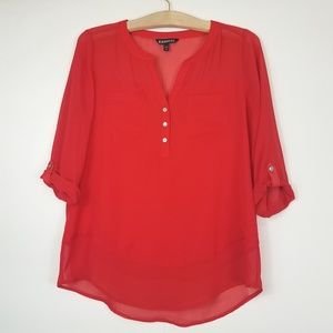 Express sheer red blouse size small